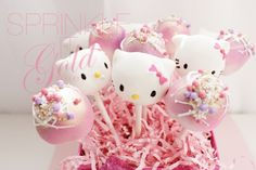 Hello kitty pops       Beautifully unique, stunning edible art     www.sprinkleitgold.com     facebook.com/sprinkleitgold