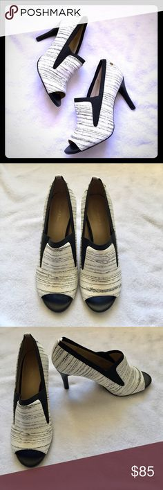 """🎊🎊SALE🎊🎊Calvin Klein Black White Peep Pumps These are NIB Peep Toe pumps! Never worn! The pictures don't do these heels justice! They are gorgeous, sexy and so comfortable! Heel height is 3.5"""". Calvin Klein Shoes Heels"""