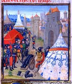 """Siege of Rheims, Froissart - part of the Assault on Burgundy by Edward III. John de Vere, 7th Earl Oxford lost his life here in 1360. One of the """"fighting de Veres,"""" he was a trusted captain of Edward III in the king's wars in Scotland and France."""
