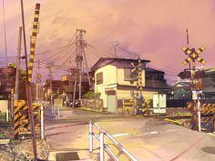 Paso a nivel con barreras en el videojuego Clannad (Kuranado). Novela visual Japonesa de la compañia Key