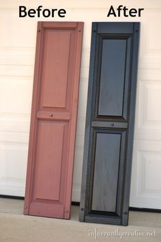 How to Paint Vinyl Shutters by Infarrantly Creative - need to repaint our black ones