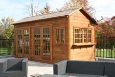 Backyard Bar Harbor shed kit with cedar in Milton, Ontario. ID number Build A Shed Kit, Build Your Own Shed, Building A Shed, Building Ideas, Garden Shed Kits, Corner Sheds, Custom Sheds, Sheds For Sale, Modern Shed