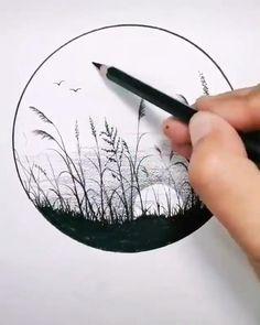 Art Drawings Beautiful, Art Drawings Sketches Simple, Art Drawings For Kids, Landscape Pencil Drawings, Pencil Art Drawings, Watercolor Flowers Tutorial, Nature Drawing, Diy Canvas Art, Paintings