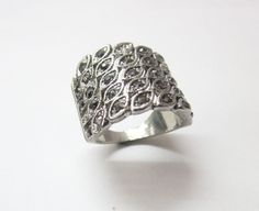 Black Silver Overlay Whole Shale Price !!! Marcasite Ring Gemstone US - 2799 #SilvestoIndia #Cocktail