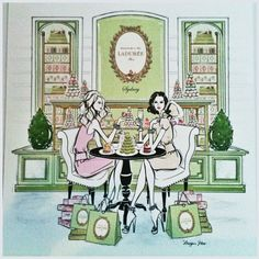 Fabulous colours and styling, Paris tearoom Ladurée, illustration by Megan Hess
