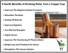 9 Health Benefits Of Drinking Water From A Copper Cup. of drink water water aesthetic water clipart water funny water meme water motivation water quotes Holistic Healing, Natural Healing, Health And Wellbeing, Health Benefits, Digestive System Function, Copper Cups, Health Facts, Health Quotes, Cancer Cure