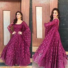 Anarkali Salwar Suit New Georgette Embroidered Gown Style Fancy Salwar Suit KD