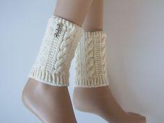 Cream Hand Knitted Boot Cuffs with buttonLeg by BezeQFASHION