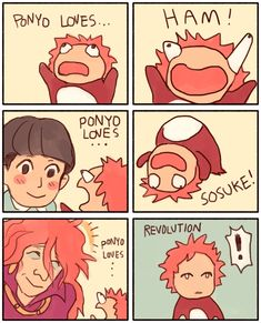 """Ponyo Loves Revolution"" refers to an exploitable animated six panel comic with the character Ponyo from the Studio Ghibli movie of the same name.  The comic is commonly edited or redrawn to contain various characters from other cartoons and anime, such as Steven Universe."