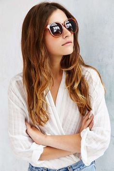 Double Layer Oversized Round Sunglasses - Urban Outfitters