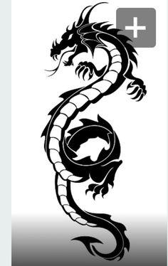 Black tribal dragon tattoo vector illustration – tattoos for women half sleeve Dragon Tattoo Vector, Black Dragon Tattoo, Tribal Dragon Tattoos, Chinese Dragon Tattoos, Cross Tattoos, Japanese Tattoos, Tattoo Black, Celtic Tattoos, Band Tattoos