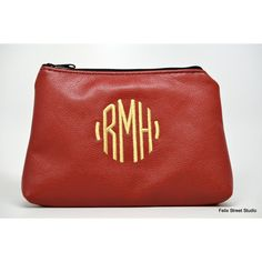 Personalized Leather Cosmetic Bag ($45) ❤ liked on Polyvore featuring beauty products, beauty accessories, bags & cases, toiletry bag, dop kit, makeup bag case, toiletry kits and makeup purse