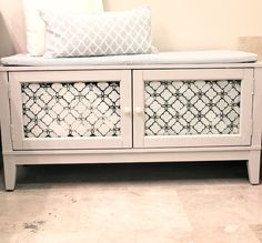 Small cupboard, add casters, pad top - piano bench with storage for music! Furniture Projects, Furniture Making, Furniture Makeover, Home Projects, Diy Furniture, Repurposed Furniture, Storage Bench Seating, Bench With Storage, Shoe Storage