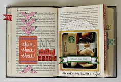 """One Pinner Said: """"Art journal/scrapbook in book you get to ruin a book and get a scrap book out of it yay perfect idea"""""""