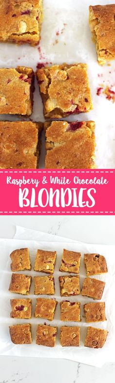 These easy raspberry and white chocolate blondies with coconut will become a new favourite recipe for your family. Chewy, fudgy blondies studded with tart raspberries, white chocolate chips and coconut! #blondies #raspberries #baking #onebowl #easyrecipe #raspberryandwhitechocolate