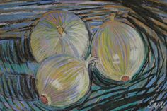 original painting / oil pastel / white onions / by NielsenDenmark