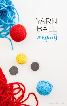 These Yarn Ball magnets are a great gift and a great stash buster project.  Check out the tutorial by One Dog Woof.