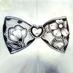 Lace Bow Tattoo Design
