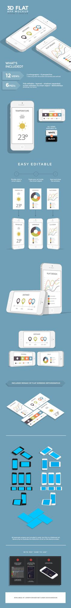 3D Flat App Mockup - iPhone by Dooca Premium Resources , via Behance