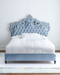 """#ONLYATNM Only Here. Only Ours. Exclusively for You. Tufted bed has alder wood frame and polyester velvet upholstery with mirrored accents. 87""""W x 90""""L x 66""""T. Mad in the USA of imported materials. Bo"""