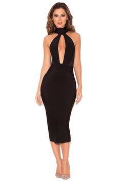 Clothing : Bandage Dresses : 'Alejandra' Black Halter Backless Bandage Dress