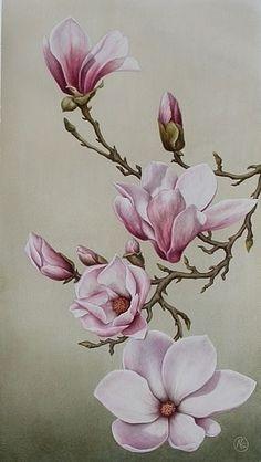 white magnolia branch tattoo - Google Search                                                                                                                                                      More