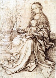 Martin Schongauer, The Madonna with a Pink, ca. Pen and brown ink; traces of squaring in black chalk, x cm. Anton, Martin Schongauer, Northern Italy, Chapter 3, Western Art, 15th Century, Mother And Child, Madonna, Renaissance