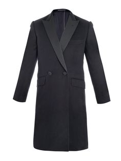 Rake Lounge - Cashmere Double-Breasted Coat. Navy cashmere double-breasted frock coat with satin peak lapels, multiple pockets and embroidered halo detail. This handsome coat from Rake Lounge has been cut and assembled using specialist Savile Row hand-tailoring techniques; layer it over sharp suiting for a modern sensibility. Tailoring Techniques, Frock Coat, Savile Row, Double Breasted Coat, Yellow And Brown, Well Dressed Men, Frocks, Cashmere, Suit Jacket