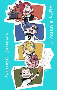 One Piece, Vinsmoke family, Sanji, Ichiji, Niji, Yonji