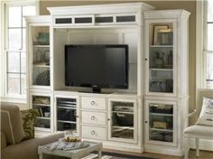 Universal Furniture Summer Hill Home Entertainment System in Cotton 987969 CLEAR… - diy furniture entertainment center Home Entertainment, Entertainment Center Wall Unit, Entertainment Furniture, Summer Hill, Cool Tv Stands, Interior Desing, Interior Office, Coaster Furniture, Hemnes
