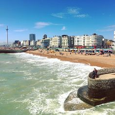 """""""Brighton Summer Sightseeing Top 10! 1. The beach, of course! The water's a bit murky, not sure I want to swim in it but it sure is pretty to look at, and to fish in apparently! 2. Watersports, if you don't fancy climbing in, climb onto a jet ski! The water really is this blue when the sun is out! 3. British Airways i360 offers incredible views of Brighton all the way out to the Isle of White on a clear day. And it has a bar! Though I'm not sure how much you'll want to drink when looking…"""