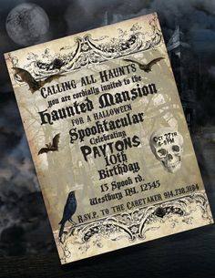 Haunted Mansion Party, Halloween Party, Haunted House Party - PRINTABLE CUSTOMIZED INVITATION - Cutie Putti Paperie
