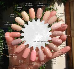 I have an obsession with neutral pink nudes for nails. I love the clean polished natural look of colors that have a mix of pink with nude/beige/mauve/rose. My current favorites range from semi-sheer to full coverage shades, most are creams but there are a few that have subtle shimmer. The shades I'm loving this season are listed below. All photos are my own. Row 1: YSL Beige Leger 22, Chanel…