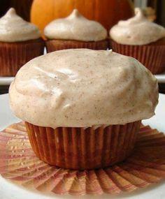 Fall Cupcake Ideas: Pumpkin Cupcakes with Cream Cheese Cinnamon Icing