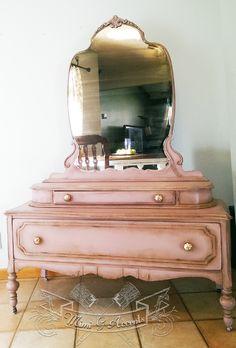 1930's Vanity. Painted with Annie Sloan Henrietta Chalk Paint and Dark wax.