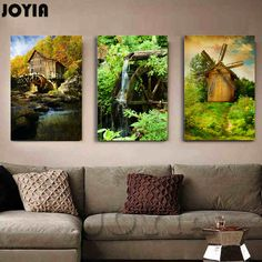 3 Piece Canvas Wall Decor Green Forest Scenic Paintings, Waterwheel Windmill House Print Art, European Landscape Painting Set