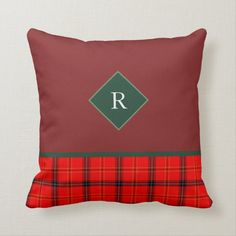 Christmas Red and Green Plaid Tartan Monogrammed Throw Pillow - tap, personalize, buy right now! #ThrowPillow #festive #christmas #winter #season #holiday, Personalized Pillows, Custom Pillows, Plaid Throw Pillows, Accent Pillows, Tartan Pattern, White Elephant Gifts, Red Christmas, Monogram, Green