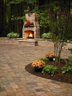Large patio w/outdoor fireplace… all the entertaining here would be plentiful Architectural Landscape Desi Backyard Fireplace, Backyard Patio, Backyard Landscaping, Outdoor Fireplaces, Wood Fireplace, Outdoor Rooms, Outdoor Gardens, Outdoor Living, Outdoor Patios