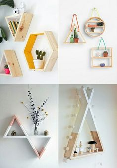 A nice solution to transform the interior of the room with the help of the original wooden shelves. Diy Home Decor Bedroom, Diy Wall Decor, Home Decor Furniture, Diy Crafts Hacks, Diy Home Crafts, Do It Yourself Design, House Plants Decor, Monogram Wall, Aesthetic Room Decor