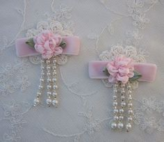 2 pc Pink Satin Ribbon Flower and Crocheted Lace Pearl Glass Seed Bead Tassel Applique by delightfuldesigner on Etsy https://www.etsy.com/listing/255671458/2-pc-pink-satin-ribbon-flower-and
