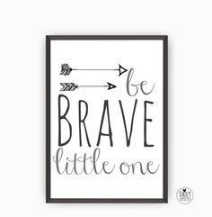 Printable Poster Brave- Zwart Wit Grijs Illustratie Kinderkamer Woonkamer…