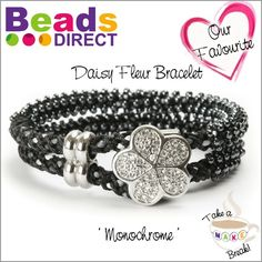 Seed Bead Kumihimo Bracelet Instructions. This project is suitable for those who are familiar with kumihimo techniques and have tried adding seed beads to their braids before.  http://www.beadsdirect.co.uk/gallery/detail/monochrome-daisy-fleur-bracelet/