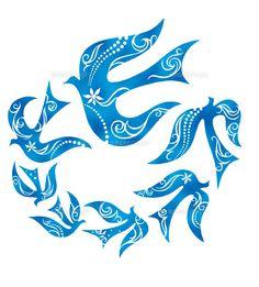 連なって飛ぶ鳥の群れ イラスト (c)TETSURO OKABE