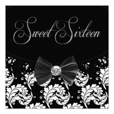 Black Damask Sweet Sixteen Birthday Party Custom Announcements