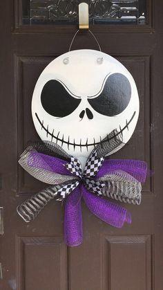 Jack Skellington door hanger, colors are customizable! Fun Halloween Crafts, Halloween Painting, Halloween Signs, Outdoor Halloween, Diy Halloween Decorations, Fall Crafts, Fall Halloween, Holiday Crafts, Happy Halloween
