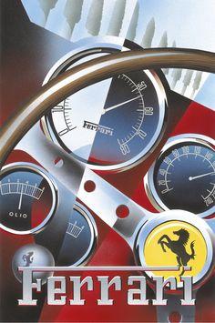 PEL208: '1962 Ferrari 250 GTO Dashboard' by Emilio Saluzzi - Vintage car posters - Art Deco - Pullman Editions - Ferrari