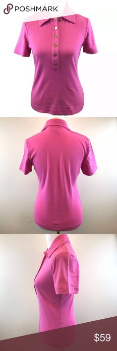 """Tory Burch Pink Polo Shirt Medium Short Sleeve Women's pink Tory Burch half button front polo shirt top with short sleeves, Tory Burch logo gold tone buttons and embroidered logo near shirt hem.  Size Medium 100% cotton Bust:  34""""  (17"""" underarm to underarm across the front) Length in back:  23"""" Shoulders across the back:  15 1/2"""" Very good condition. Tory Burch Tops Button Down Shirts"""