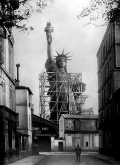 Old photos of the Statue of Liberty standing in Paris were extraordinarily surreal ~ finished in April of 1886.