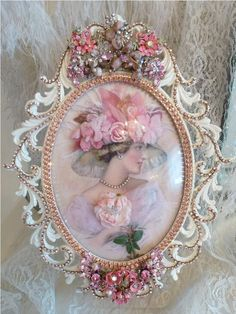 Bejeweled Bella Lady Victoria Rose 2 Special Order From The Collection By Debb… – Diy Jewelry Vintage Shabby Chic Crafts, Shabby Chic Pink, Vintage Shabby Chic, Shabby Chic Decor, Jewelry Frames, Jewelry Art, Jewellery, Charm Jewelry, Molduras Vintage