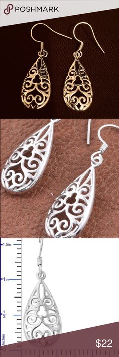 925 Sterling Silver Filagree Earrings These are elegant and casual.  The best of both worlds.  925 Sterling Silver Jewelry Earrings